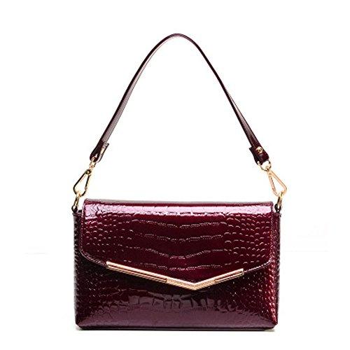 Croco Envelope - Catkit Fashion Womens Croco Evening Tote Handbag Office Ladies Shoulder Bag Burgundy