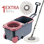 Polyset Dual Mop Bucket with Wheels, Microfiber Mop with 1 Refill, Easy Cleaning for Home Kitchen, Office and Retail…