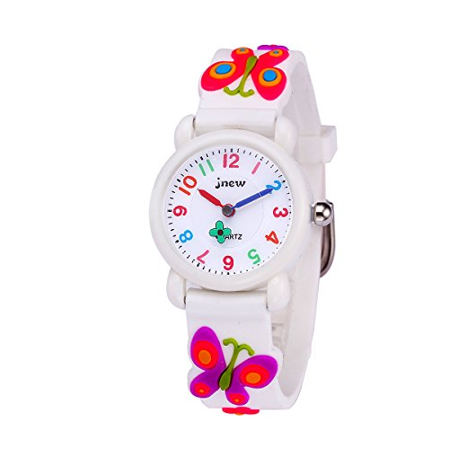 Sun-Team Kids Gift Toys for 3-8 Year Old Girls, Girls Watch Toys for 4-10 Year Old Boys Girls Age 4-10 Present Birthday(White Butterfly)