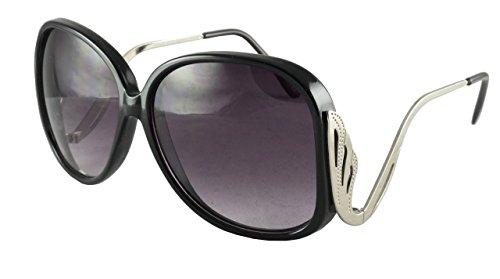Revive Eyewear Women's 70's Swan Arm Retro Black Frame/ Black Lens Non Polarized Sunglasses - Sunglasses Swan