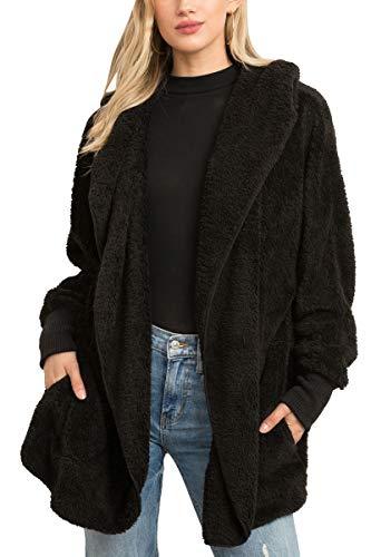 Hem and Thread Soft Fur Jacket (Black) (Fleece Thread)