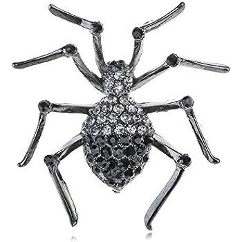 Alilang Womens Gunmetal Tone Clear Rhinestones Black Widow Spider Brooch Pin