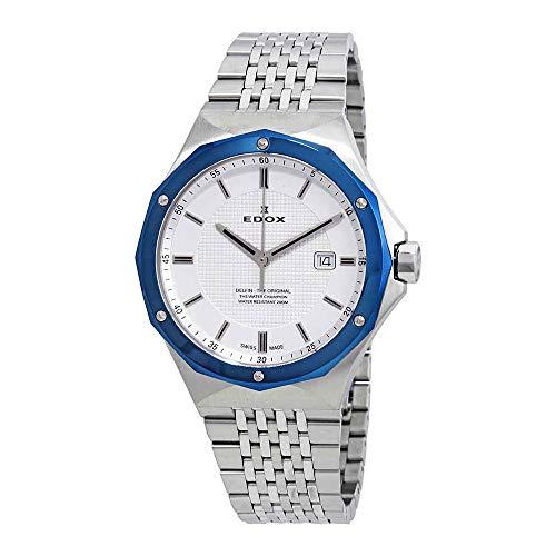 Edox Men's 53005 3BUM AIN Delfin Analog Display Swiss Quartz Silver Watch