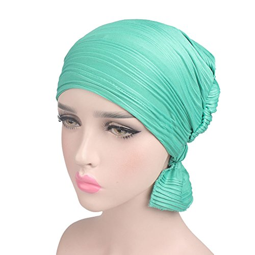 Wcysin Womens Turban Brim Hat Cap Pile Chemo Hat Beanie Turban Headwear For Cancer Patients Ladies (Green) (Beanie Brim Basic)
