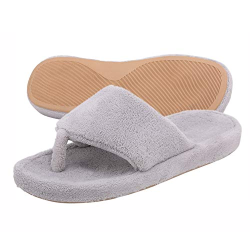 Women Thong Support Grey Men Flops and for House Slippers Women Coral Onmygogo Arch Flip with Fleece Slippers 0qZwURxvU