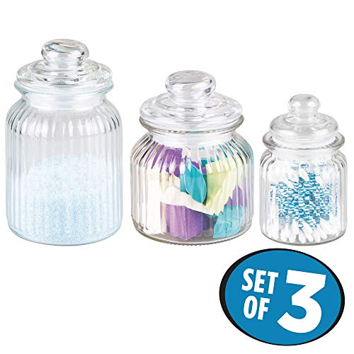 - InterDesign York Fluted Glass Vanity Canister Jars for Cotton Balls, Swabs, Cosmetic Pads - Set of 3, Clear