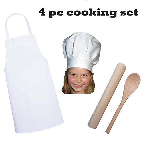 Kid's Chef Apron Hat Rolling Pin Spoon Cooking Set, 4-pc, M:3-9 (Pins Set Embroidery)
