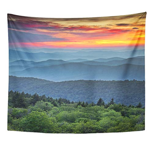 Remain Unique Tapestry Blue Ridge Parkway Scenic Landscape Appalachian Mountains Ridges Sunset Wall Hang Decor Indoor House Made in ()