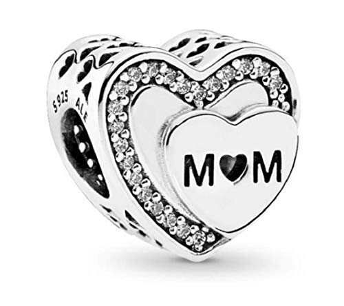 DH Love fit Pandora Charms Bracelet Mom Mother Heart Charm for Mother's Day Pink CZ (mom)
