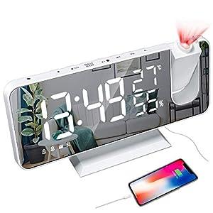 CAMPSLE Sveglia Digitale a LED con Specchio per proiezione con Porta di Ricarica USB, Sveglia con proiezione con Schermo… 41o2itEWkgL. SS300