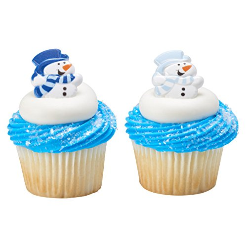 (Christmas - Blue Snowman Cupcake Rings - 24 Count)