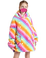 Oversized Blanket Hoodie Flannel Wearable Blanket Sweatshirt with Deep Pockets and Sleeves Soft Warm Lounging Hoodie for Adults Kids