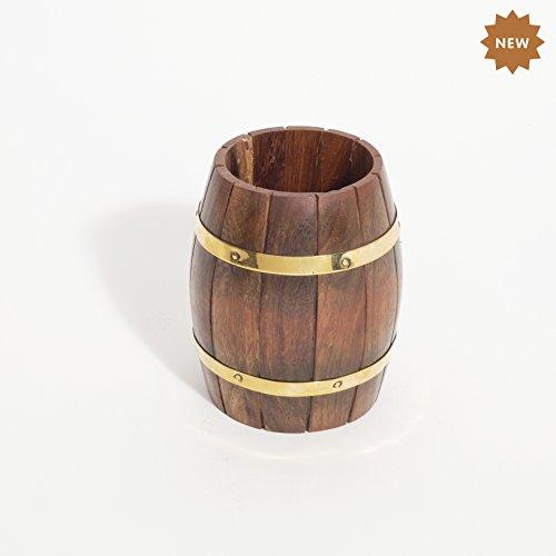 (Rusticity Wooden Pen Stand - Barrel Shape  Handmade   (3.8x3.5x4.1 in))
