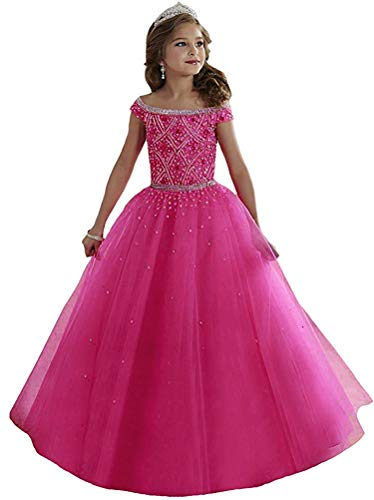 Lilibridal Little Girls Birthday Party Ball Gowns Beaded Kids Pageant Dress LLB054 ()