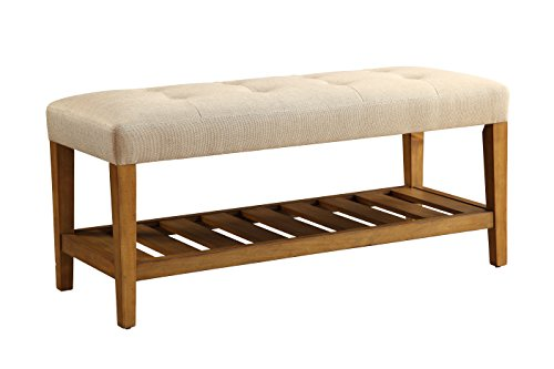 Acme Furniture 96682 Charla Bench, Beige & Oak, One Size
