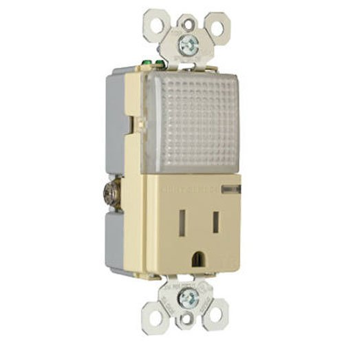 Legrand - Pass & Seymour NTL885TR OR NTL81TR Decorator Combination Hall Light and Tamper Resistant Single Receptacle, Ivory