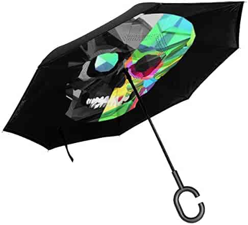 Self Stand Upside Down with C-Shaped Handle PYFXSALA Skull with Flower Windproof Inverted Umbrella Double Layer UV Protection Folding Reverse Umbrella for Car Rain Outdoor