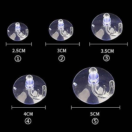 Vielfalt glatte Oberfl/ächen Schlafzimmer usw K/üche Durchmesser: 2.5cm,3cm,3.5cm,4cm,5cm wie Glas Fliese und mehr KAIBSEN/® Strong Mini transparent Plastic Sucker Hook Mehrzweck Haken f/ür Bad