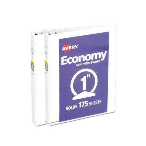 Avery Mini Economy View Binder with 1 Inch Round Ring, 5.5 x 8.5 inches, White (5806) (2 Pack)