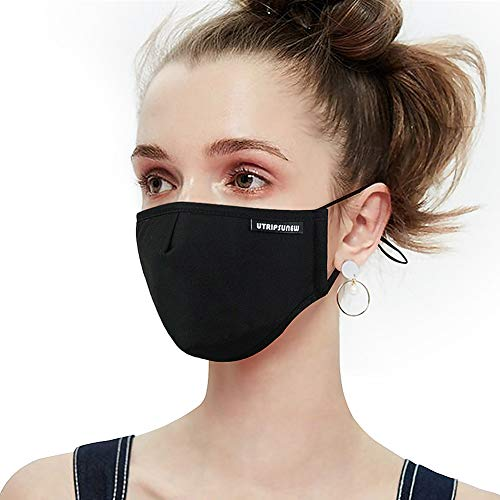 Anti Pollution Dust Mask Washable and Reusable PM2.5 Cotton Face Mouth Mask Protection from Flu Germ Pollen Allergy Respirator Mask (Black)