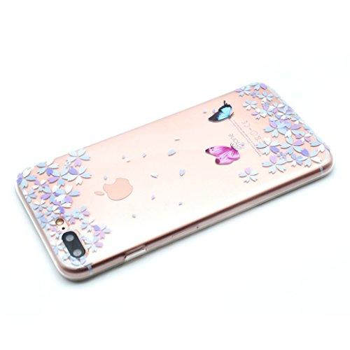 """Coque Cover iPhone 7 Plus, IJIA Ultra-mince Transparent Fleurs et Papillons TPU Doux Silicone Bumper Case Shell Coque Housse Etui pour Apple iPhone 7 Plus (5.5"""") + 24K Or Autocollant"""