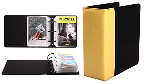 Broadway Play Program and Theater Playbill Binder with 30 Custom Sheet Protectors - PU Leather - Fits Playbills from Mid 1980s to Modern (Yellow/Black EmbossedP)