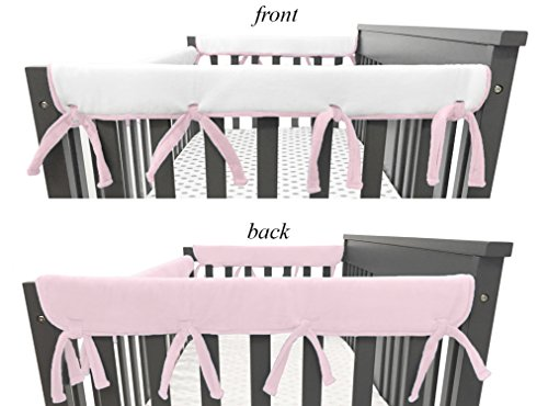 American Baby Company 2 Pack Heavenly Soft Chenille Reversible Crib Rail Cover for Side Rails, Pink/White, Narrow for Rails Measuring up to 8