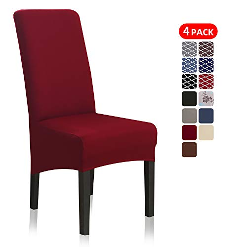 Stretch Dining Chair Slipcovers, XL/Oversized Removable Washable Soft Spandex Extra Large Dining Room Chair Covers for Kitchen Hotel Table Banquet Solid Color (4 Per Set, Burgundy Red)