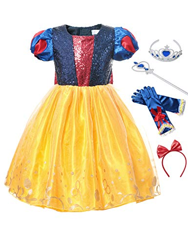 aibeiboutique Princess Snow White Costume Fancy Halloween Cosplay Party Dress Up with Accessories (Blue 1, 2-3 -