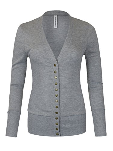 Womens Women's V-Neck Button Down Knitwear Long Sleeve Soft Basic Knit Snap Cardigan (C45611 Heather Grey, X-Large) -