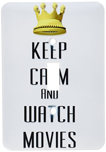 3dRose LLC lsp_120910_1 Gold Crown Keep Calm and Watch Movies Single Toggle Switch by 3dRose