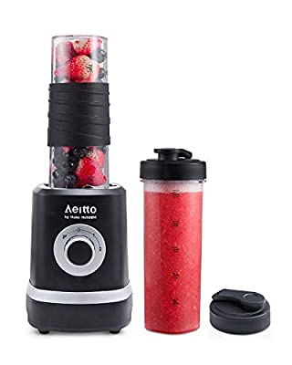 Personal Blender, Aeitto Single Serve Small Blender Smoothie Maker with 2 Travel Sport Bottles, 3 Adjustable Speed, 350W High Speed for Shakes Smoothies Juice and Babyfood by Haier Hotoem