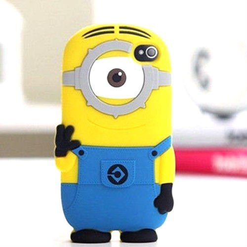 With One Eye {Minion Character} Soft and Smooth Silicone Cute 3D Fitted Bumper Gel Case for iPod 4 (4G) 4th Generation iTouch by Apple