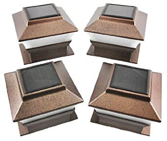 4 Pack Solar Powered Copper Outdoor Garden Deck Patio Fence Pathway Post Light for 4x4 Wood Posts by Garden Sunlight