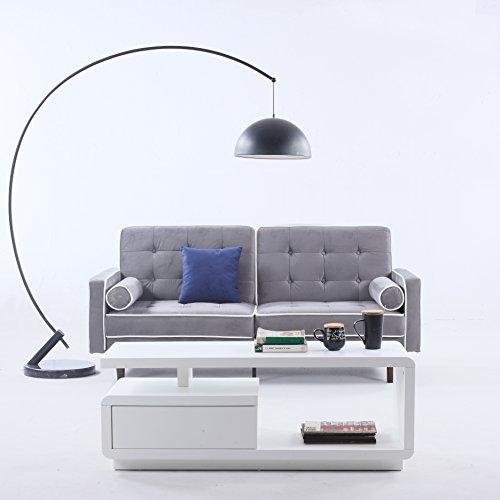 Border Tufted Velvet - Divano Roma Furniture Mid Century Modern Two Tone Split Back Tufted Velvet Futon, Light Grey
