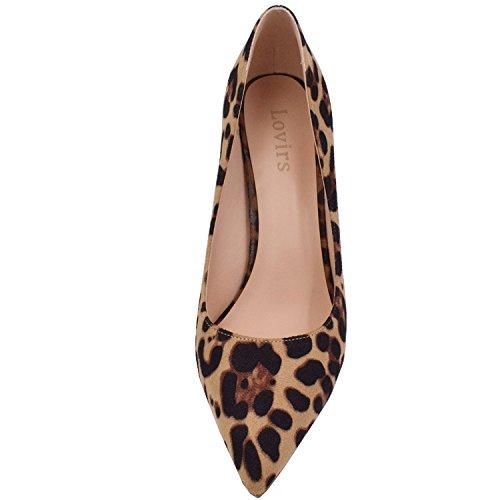 Lovirs Ufficio Delle Donne Slip On Pompe Stiletto Tacco Medio Punta A Punta Scarpe Per Party Dress Leopardo Pelle Scamosciata