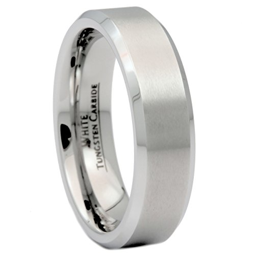 6 Mm Engraved Band - MJ Metals Jewelry Custom Engraved 6mm Brushed White Tungsten Carbide Wedding Band Polished Edge Ring Size 12.5
