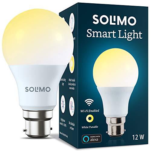 Amazon Brand – Solimo Wi-Fi Smart Light, 12W, B22 Holder, Alexa Enabled (Yellow/Light Yellow/White)