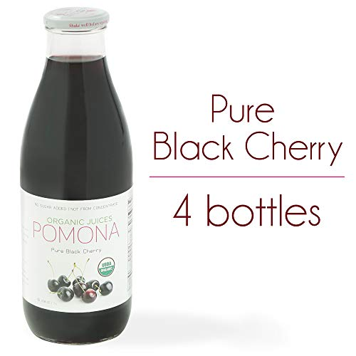 POMONA Pure Black Cherry Juice, 1 Liter Bottle (Pack of 4), Cold Pressed Organic Juice, Non-GMO, No Sugar Added, Not from Concentrate, Gluten Free, Kosher Certified, Preservative Free