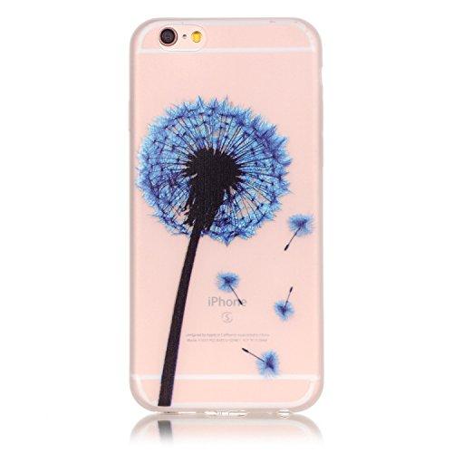 iPhone 6 6S Hülle mit Fluoreszenz , Modisch Blauer Blauer Löwenzahn Transparent TPU Silikon Schutz Handy Hülle Handytasche HandyHülle Etui Schale Schutzhülle Case Cover für Apple iPhone 6 6S