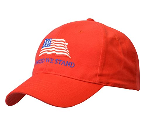 Buckle Cap Closure Cotton (KC Caps American Flag Baseball Cap United We Stand Unisex Cotton Structured with Ring Buckle Closure, Red)
