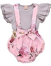Conjunto de roupas de verão para bebês meninas com manga de babados e alça floral 0-24meses