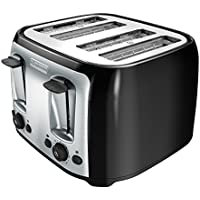 BLACK+DECKER 4-Slice Toaster, Classic Oval, Black with...