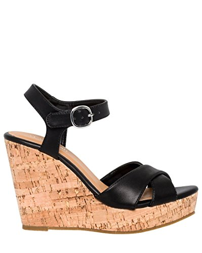 LE CHÂTEAU Women's Leather-Like Open Toe Wedge Sandal,9,Black by LE CHÂTEAU (Image #4)'