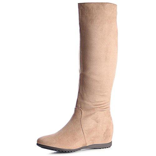 topschuhe24 1019 Damen Stiefel Boots Keilabsatz Glitzer Hellbraun