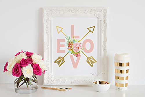 Love Art Print by Penny Jane Designs, Arrows Wall Art, Love and Gold Arrows, Pink and Gold Nursery Wall Art, Home Decor, Office Space, Little Girl's Bedroom