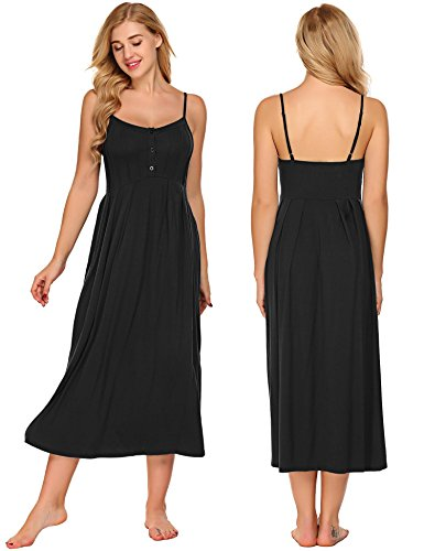 Acecor Women Cotton Spaghetti Strap Sleeveless Button Nighties Sleepwear Long Nightgown Dress(Black XXL) (Strap Breast Style)