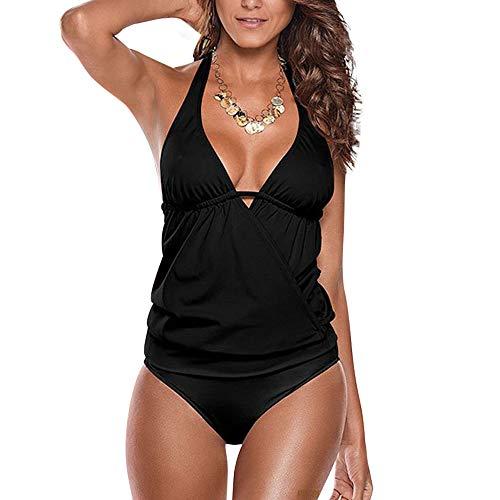 Carprinass Feminine Spandex Plain Low Back Halter Tankini Bathing Suit Black S