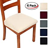 Smiry Stretch Spandex Jacquard Dining Room Chair Seat Covers, Removable Washable Anti-dust Dinning Chair Seat Cushion Protectors - Set of 4, Beige