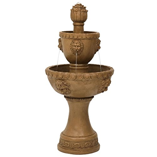 Sunnydaze 2-Tier Contemporary Lion Head Outdoor Garden Water Fountain, Backyard and Patio Waterfall Feature, 41 Inch Tall